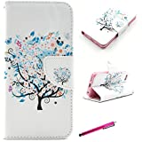 iPhone 5S Case, Leather Case for iPhone 5S, JCmax Premium Flip Ultra Slim PU Leather Wallet Case With Card Slots for Apple iPhone 5 5S -[Tree Pattern] White