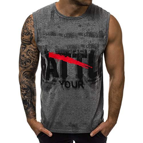 Bellelove Herren Tanktop Tank Top Tankshirt Rundhalsausschnitt T-Shirt mit Print Unterhemden Ärmellos Weste Muskelshirt Fitness - Trainingsweste