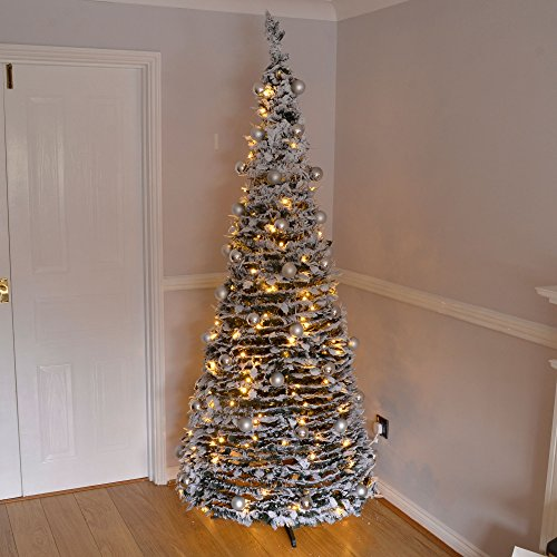 7ft large quick pop up christmas tree pre decorated with 200 warm white led lights silver baubles buy online in uae angraves products in the uae - Pre Decorated Pop Up Christmas Trees