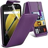 Spyrox ( Purple ) Motorola Moto E 2015 2nd Generation Hülle Abdeckung Cover Case schutzhülle Tasche Stylish Fitted PU-Leder-Schlag mit 2 Kredit- / Bank-Karten-Slot-Kasten-Haut-Abdeckung mit LCD-Display Schutzfolie, Poliertuch und Mini-versenkbaren Stift