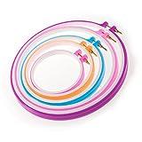 JZK® Set di 5 telaio varie misure anello telai a cerchio per ricamo cucito punto croce, dimensioni da 13 a 27 cm, multicolore