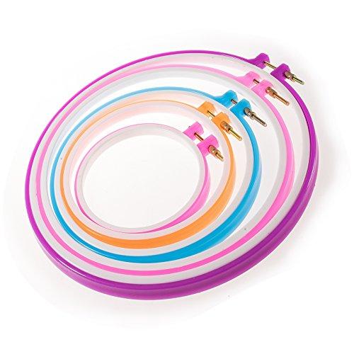 JZK 5 Größen Runde Nähen Rahmen Tool Kit Kreuzstich Kreis Stickerei Stickrahmen Cross Stitch Hoop Set, Durchmesser 12.7cm bis 28cm, für Kunsthandwerk Handnähen, zufällige Farbe (5x Ring)