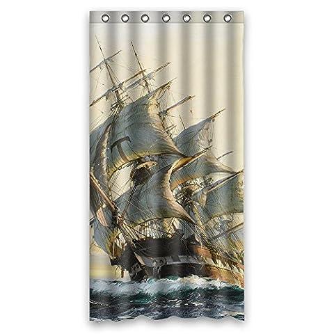 Busin Largeur x Hauteur/91,4x 182,9cm/W H 90, 180cm de navigation Voyage océans Navigation Bateau à voile Bateau Vessel Jalor Art Peinture de salle de bain Rideaux Tissu de polyester et Ornement