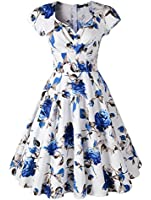 Penelope Vintage 1950s Style Floral Rose Pattern Swing Circle Party Dress