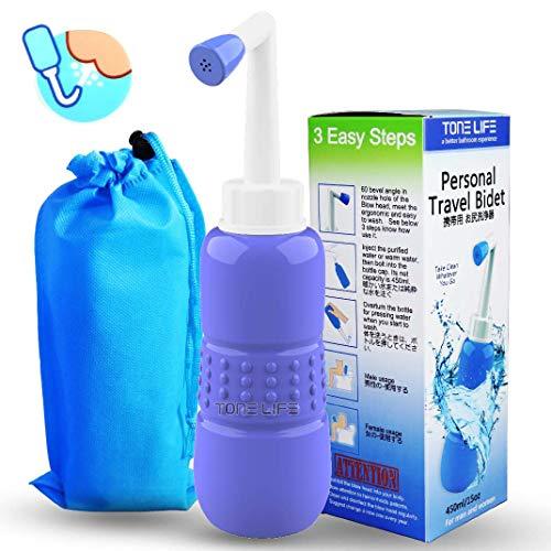 Tonelife Travel bidet–Portable bidet spruzzatore–facile da usare con borsa da viaggio, capacità di 450ml–angolato ugello spray, English Maunal
