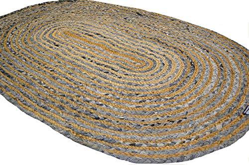 Oval Jute Denim Blau Rustikal geflochten 90x 150cm Mats. American Style Teppiche für Küchen Wintergärten - Jute-teppich Oval