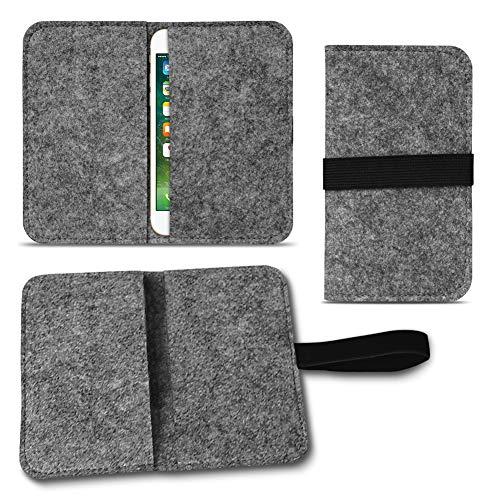 UC-Express Filz Hülle Smartphone Tasche Cover Case Handy Flip Filztasche Kartenfach Etui, Farbe:Dunkel Grau, Für Handy Modell:Phicomm Passion 2S