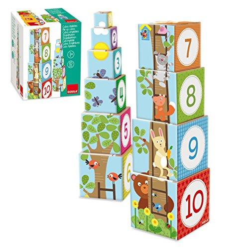 Goula - Cubos apilables de cartón, diseño bosque, 50 cm (Diset 55219)