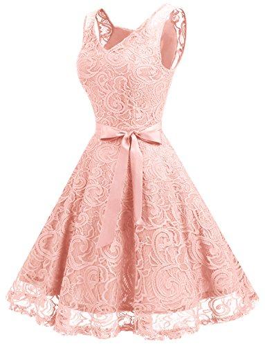 Dressystar Brautjungfernkleid Ohne Arm Kleid Aus Spitzen Spitzenkleid Knielang Festliches Cocktailkleid Blush