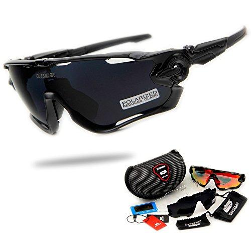 Queshark Fahrradbrille Sport Sonnenbrille für Herren und Damen Polarisierte, Sportbrille mit 3 Wechselobjektiven und Frauen Radsports Brillen, Baseball, Laufengläser, Tr90 unzerbrechlich
