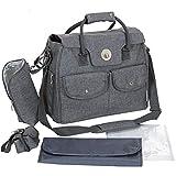Große Wickeltasche XL Set mit 3 Zusatz Taschen, wasserfester Wickelauflage und Kinderwagen-Befestigung; Grau