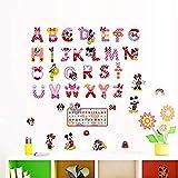 Pegatinas de Pared Bricolaje ABC Mickey Minnie pegatinas de pared Mural de PVC Adhesivos Abecedario Guardería Infantil Decoración