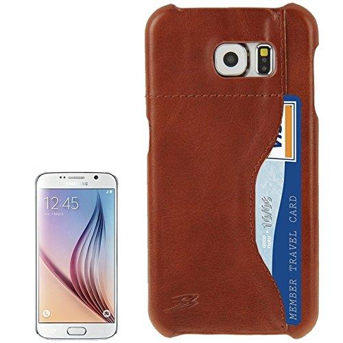 Phone case & hülle Für Samsung Galaxy S6 echtes Kuh-Leder-rückseitige Abdeckungs-Fall mit Einbauschlitz ( SKU : S-SCS-3648Z )
