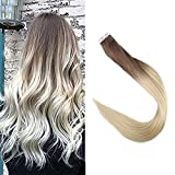 Full Shine 20 Zoll 20 Stuck 50 Gram Per Package Haarfarbe #6B And Haarfarbe #613 Blond Balayage Farbe Ombre Remy Hair Extensions Klebeband Haarverlangerung