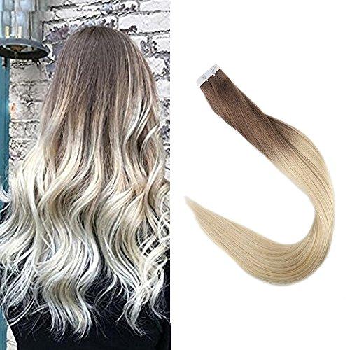 Full shine 14 pollice 50g/20pcs immergere dye estensioni dei capelli veri capelli ombre colore #6b fading to #613 blonde evidenziare nastro remy estensioni dei capelli