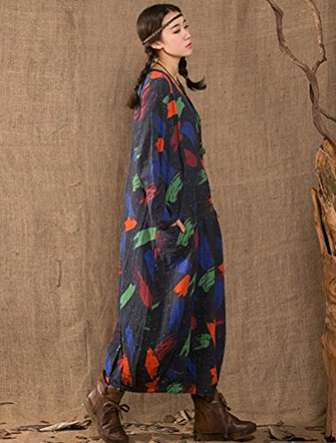 MatchLife Femme Printed O-Cou Longues Robe Bleu
