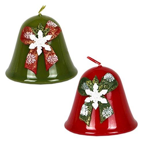 Juego de 2campanas de Navidad velas de Navidad verde rojo Diseño nieve folcke