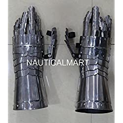 Medieval funcional par de Armor guantes Halloween disfraz