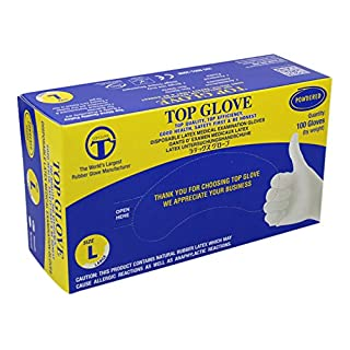 Top Glove Lightly Powdered Disposable Latex Gloves - AQL 1.5 - Box of 100 (Large)