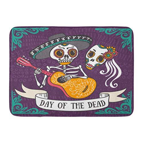LIS HOME Fußmatten Bad Teppiche Outdoor/Indoor Fußmatte tot für die Party DEA De Los Muertos Tag mexikanischen Dia Schädel Mexiko Badezimmer Dekor Teppich Badematte