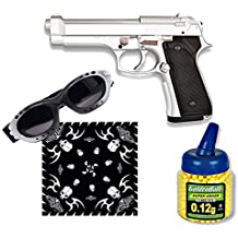Pack Pistola airsoft M92F metálica, color plata. Calibre 6mm. Potencia 0,5 Julios + Gafas antivaho + Biberon 1000 bolas