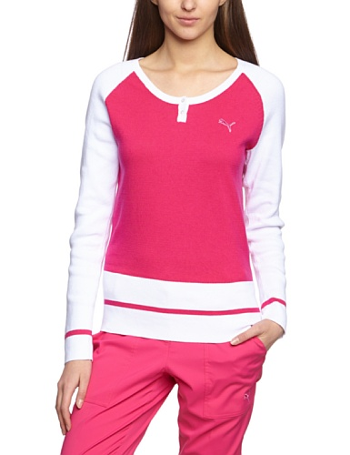PUMA Golf Damen Pullover Henley Sweater, cabaret-white, L, 562710