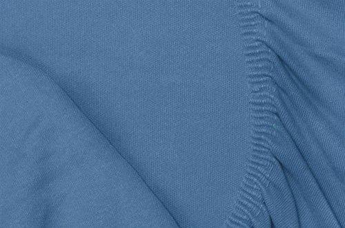 Double Jersey - Spannbettlaken 100% Baumwolle Jersey-Stretch bettlaken, Ultra Weich und Bügelfrei mit bis zu 30cm Stehghöhe, 160x200x30 Jeans Blau - 7