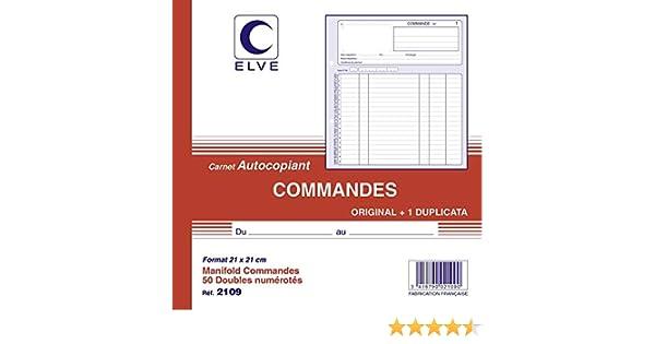 1 Dupliqu/é Carnet autocopiant 21x21cm 2109 Original ELVE Ordres collecteurs 50 num/éros doubles