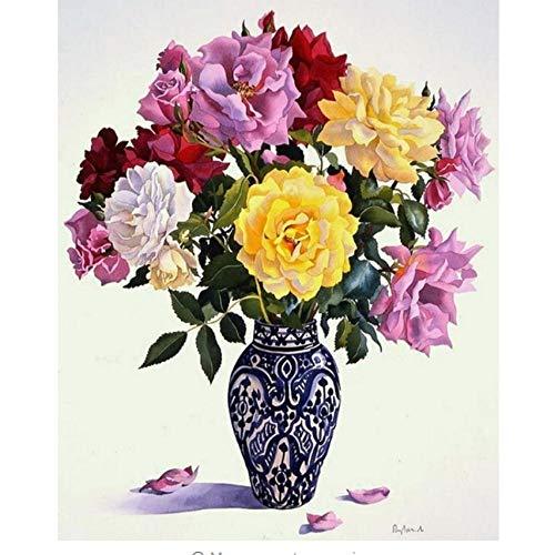 en Und Weißen Vasen Diy Malen Nach Zahlen Pigmentpinsel-Malereikunst Handgemaltes Digitales Ölgemälde- With Frame ()