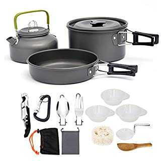 AUTOPkio Camping Cookware Set, Portable Lightweight Outdoor Cookset Cooking Pot Pan Bowl Mess Wine Opener for 2-3 persons for Travel Backpacking Hiking Trekking BBQ
