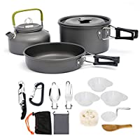 AUTOPkio Camping Cookware Set, Portable Lightweight Outdoor Cookset Cooking Pot Pan Bowl Mess Wine Opener for 2-3 persons for Travel Backpacking Hiking Trekking BBQ 1
