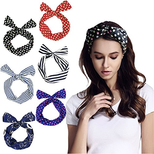 MUTUAL Haarband, Draht biegbar Bunny Ohr binden Bow Stirnband, Twist Bow Wired Stirnbänder, Polka Punkt Streifen Band Haarhalter für Damen und Mädchen.(6Pcs)