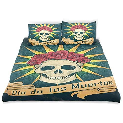 Dia De Los Muertos Dekor - Soefipok Dekor Bettwäscheset, Zuckerschädel mit Rosen