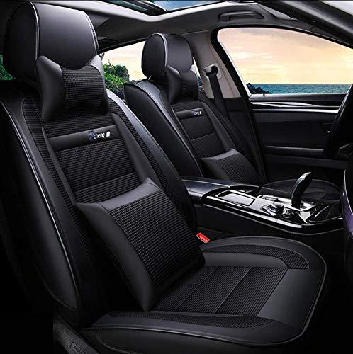 YQAD Vier-Jahreszeiten-Sitzbezug, Vollleder-3D-Stereo-Universalsitzkissen, Autositzbezugkissen, Universalsitzkissen für Autos geeignet für fünf Sitze [Energieklasse A]-1 - Stuhl Leder Deckt