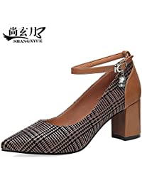 SFSYDDY-Pointed shoes in summer with thick with shoes shoes cross straps IXrxrgSnOn
