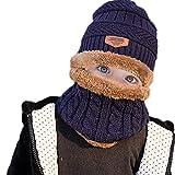 WELROG Kinder Jungs Mädchen Winter Warm Stricken Beanie Hut und Schal einstellen mit Fleece-Futter (Blau)
