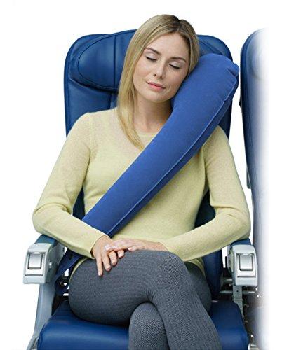 Ultimatives Reisekissenmit ergonomischem Design, unterstützt die Kopf, Hals und Kinn, Kopfkissen für maximalen Komfort im Flugzeug, Auto, Bahn und Bus, anbringbar am Gepäck blau (Kleinkind-bett Auf Der Go)