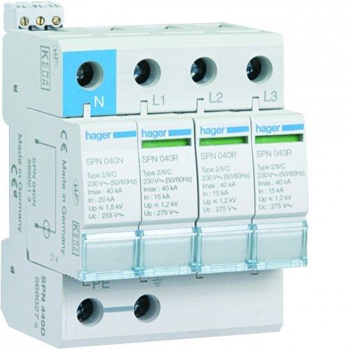 Hager spn415r–Limiter Überspannungsschutz 3-polig + neutral 15KA mit Hilfskontakt