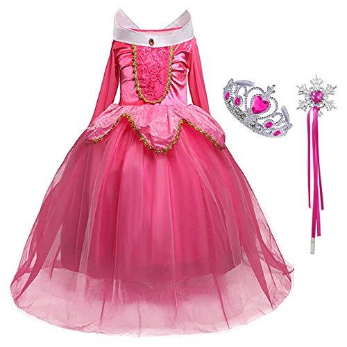 Prinzessin Blau Kleid Kostüm Aurora - Monissy Kinder Kostüm für Karneval Mädchen Prinzessin Aurora Kleid Rosa Blau Dornröschen Märchen Kostüm Cosplay Verkleidung Kindergeburtstag Weihnachten Fasching Geschenk mit Zubehör Zauberstab Krone
