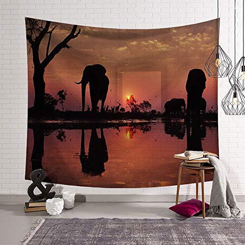 Arazzo da Parete Grande Fotografia di Elefanti, Morbuy Hippie Poliestere Stampa Home Decor tappeti da Parete Casual Picnic Telo Mare (I,Grande (150 x 200 cm))