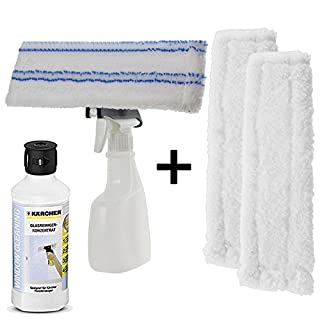 SPARES2GO Spray Bottle Kit for Karcher WV2 WV5 Premium Window Vacuum + Vac Pads/Cloth Covers (+ 500ml Detergent Solution)