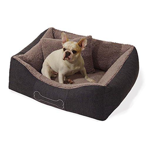 Homeoutfit24 Lucky Hundekorb Premium S 59 x 67 x 20 cm grau anthrazit Bezug waschbar mit Wendekissen weich Plüsch kuschelig Fell Hundebett Hundematte Hundedecke