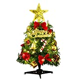Mini Arbre de Noël LED Petit Sapin Artificiel Arbre de Noël Vert avec éclairage décoration de Bureau Multicolore LED de Noël, 30X15cm