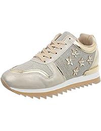 Ital-Design Scarpe da Donna Sneaker Piatto Sneakers Low Rosso Taglia 39