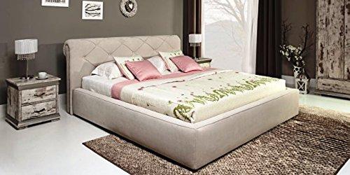 Design Luxus Lounge Polsterbett Doppelbett Futon-Bett Leder Beige SL29 NEU!