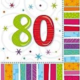 NET TOYS 16 Geburtstagsservietten Papier Servietten 80. Geburtstag Tischservietten Papierservietten zur Tischdeko