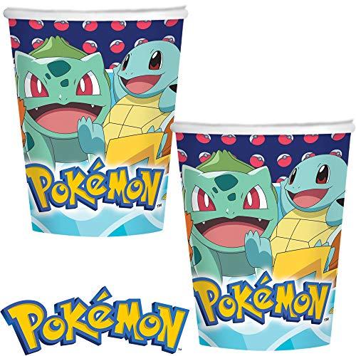 Pokémon: Lot de 8 gobelets de fête pour Anniversaire d'enfant et fête à thème | gobelets en Carton jetables