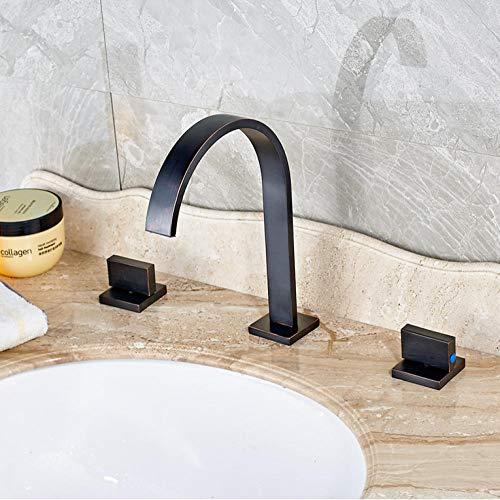 Neues Design Double Square Griff Bad Becken Wasserhahn Wanneneinlauf Waschhähne Öl eingerieben Bronze Finish