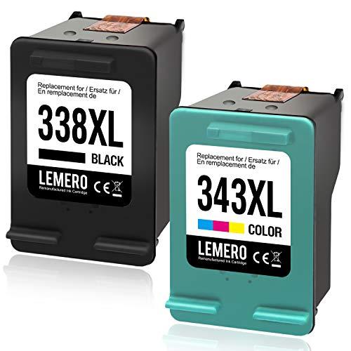LEMERO Wiederaufbereitet 338XL 343XL Ersatz für HP 338 XL 343 XL Tintenpatronen für HP Photosmart C3180 2710 7850 8150 PSC 1610 2355 OfficeJet 100 150 Mobile 6210 7310 DeskJet 460c 5740,Schwarz Farbe -