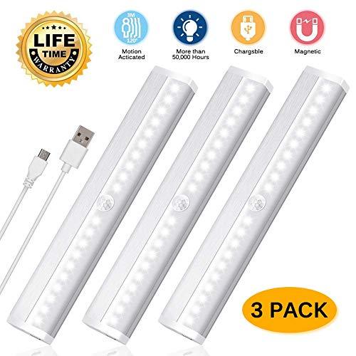 3er LED Schrankbeleuchtung 20 LEDs Schrankleuchten mit Bewegungsmelder Auto On/Off USB Wiederaufladbar Schranklicht Wandlicht für Kleiderschrank, Flur, Treppe, Küche, Badezimmer